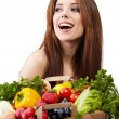 Stockfoto: Woman holding a bag full of healthy food. shopping .