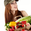 Healthy lifestyle - cheerful woman with fruit shopping paper bag — Stock Photo #6421776