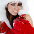 Winter girl with christmas gift — Stock Photo