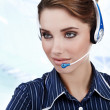 Beautiful Customer Representative girl with headset — Stock Photo