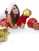 Young woman with gift box — Stockfoto