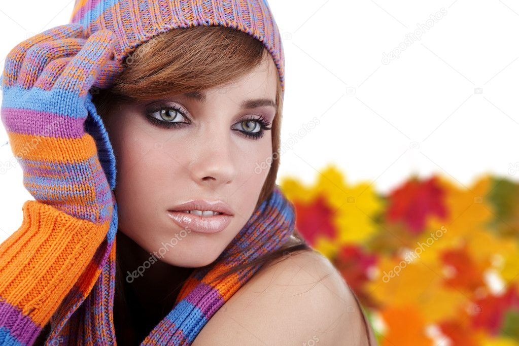 Portrait of a autumn woman  Stock Photo #6448871