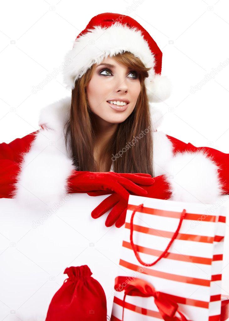sexy weihnachten m dchen l chelt und h lt ein geschenk. Black Bedroom Furniture Sets. Home Design Ideas