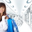 Shopping girl on drawing  the background - Stock Photo