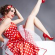 Stock Photo: Pin-up girl. Americstyle