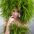 Ecology woman, green concept — Stock Photo