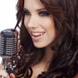 Pop female singer with the retro microphone — Stock Photo #6472531
