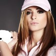 Golf Player Woman. studio  shot — Lizenzfreies Foto