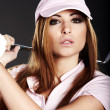 Golf Player Woman. studio shot — Stock Photo #6475468
