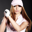 Golf Player Woman. studio shot — Stock Photo #6475480