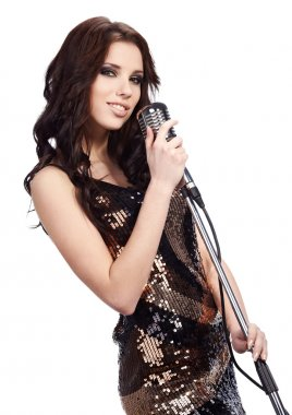 Pop female singer with the retro microphone