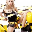 Sexy blonde female construction worker — Stock Photo #6576381