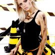Sexy blonde female construction worker — Stock Photo