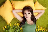 Portrait of a spring girl napping on pillow. — Foto de Stock