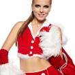 Beautiful and sexy woman wearing santa clause costume — Stock Photo #6644848