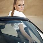 Fashion vintage woman with cabrio car — Stock Photo #6672153