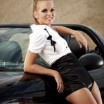 Fashion vintage woman with cabrio car — Stock Photo #6672449