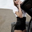 Young sexy woman with car — Stock Photo #6672671