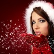 Portrait of beautiful sexy girl wearing santa claus clothes on r — Stock Photo #6685376