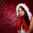 Portrait of beautiful sexy girl wearing santa claus clothes on r — Stock Photo #6685443