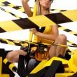 Sexy blonde female construction worker — Stockfoto