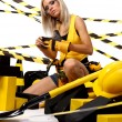 Sexy blonde female construction worker — Stock Photo #6692148
