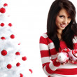 Young Woman decorating white christmas tree — Stock Photo #6700404