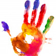 Stock Photo: Colored hand print.