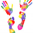 Handprint and footprint — Stock Photo