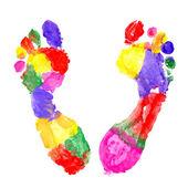 Multi Colored footprints — Stock Photo