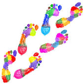 Multi Colored footprints — Stock Photo