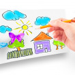 Woman's hand drawing the dream home — Stock Photo
