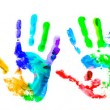 Multi coloured handprints — Stock Photo