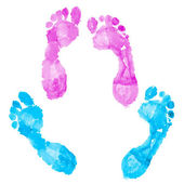 Two pairs of footprints — Stock Photo
