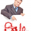 Young businessman points his finger — Stock Photo