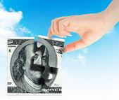 Peníze na ruku a element — ストック写真