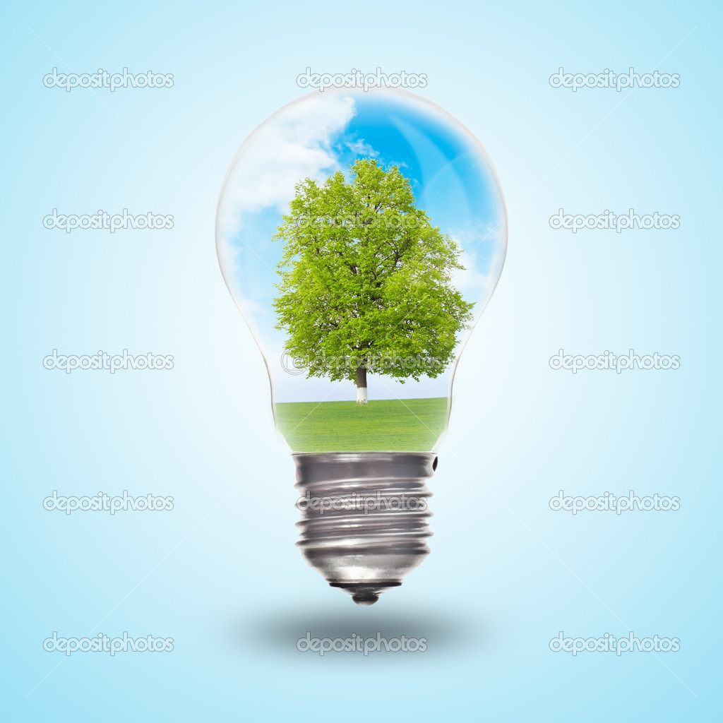 Light bulb with landscape inside. Environmental concept Renewable Energy  Stock Photo #6008202