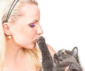 Blonde and cat — Fotografia Stock