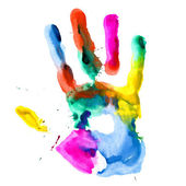 Close up of colored hand print. — Stock Photo