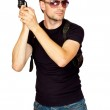Man with a gun in the holster — Stock Photo