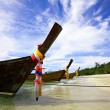 Boat in the tropical sea. Phi Phi island. Thailand - Stock Photo