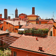 Aerial view of red roofs in Bologna - Stock Photo