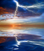 Lightning above the sea — Stock Photo