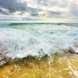 Tropical beach under gloomy sky - Stock Photo