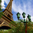View of replica of the Eiffel Tower and classic French architect — Stock Photo #6435296