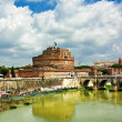 Castle sant'angelo bridge, Rome, Italy. - Stock Photo