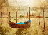 Boat in Venice in grunge style — Stock Photo