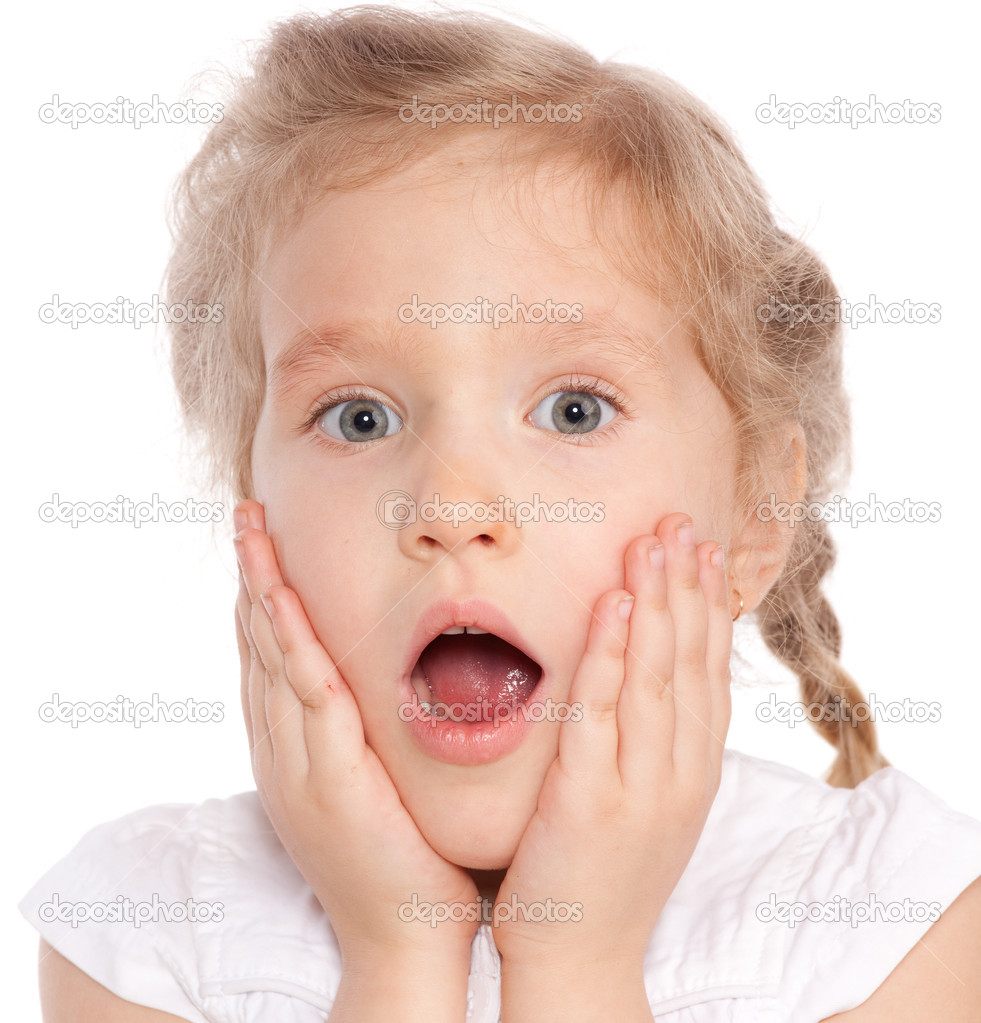 very young little girl surprised
