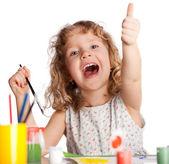 Dívka, nakreslí barvou — Stock fotografie