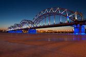 Railway bridge at night — Stock Photo